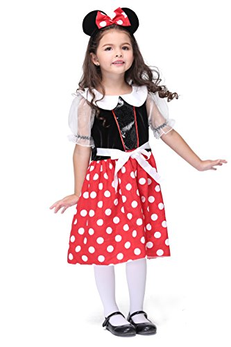 Vivihoo EK130 Halloween Cosplay Mickey Minnie Dress Party Costume For Little Girl (M) (Cute Indian Costumes For Girls)