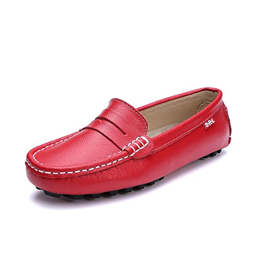 Penny Moc - Ruiatoo Penny Loafers for Women Flats Loafers Casual Leather Slip On Driving Loafers Office Comfort Flat Boat Shoes Red US8.5