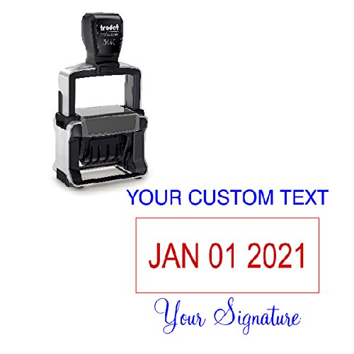 Signature Date Stamp - Custom Text With Your Signature Bottom Dater Stamp