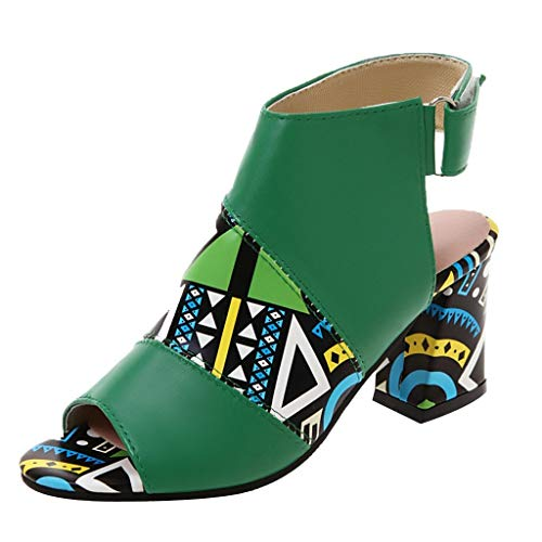 wrasf Women Summer Color Matching Fish Mouth Buckle Middle Heel Sandals Casual Shoes Green ()