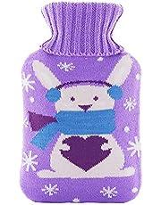 Varmvattenflaska med lock, värmeflaska, barnvarmvattenflaska, avtagbar och tvättbar varmflaska, varmvattenflaska med tvättbar stickflaska, bästa jul och vinterpresenter (I)