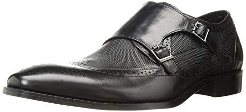 STACY ADAMS Men's LaVine Wingtip Double Monk Strap Loafer, Black, 14 M US