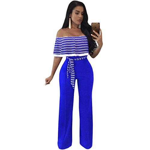Elegant Shoulder Women Jumpsuit Pink Hot Striped Off Ruffles BrRSB