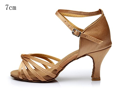 Alto VESI Mujer Zapatos Medio de para de Baile Beige Lazo Latino Tacón nY716YqCw