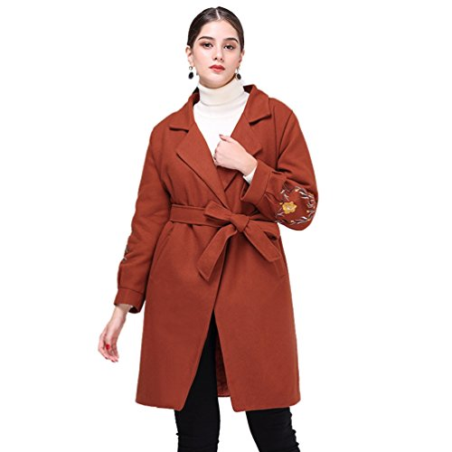 Mujer Abrigos WanYang para Tamaño Larga de Abrigo Invierno e Calientes Otoño de Chaqueta marrón para Chaquetas Gran Mujer XgqZrXzn