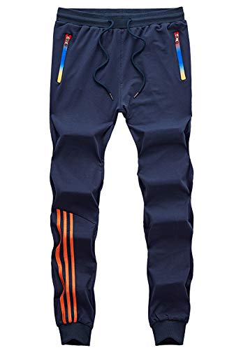 - GEEK LIGHTING Men's Athletic Track Pants Casual Running Jogger Trousers with Zippered Pockets (Navy, X-Large)