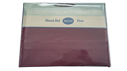 Madison Luxury 180 Thread Percale Sheet Set, Queen, 55% Cotton 45% Polyester, 1 Fitted Sheet, 1 Flat Sheet, 2 Pilowcases ()