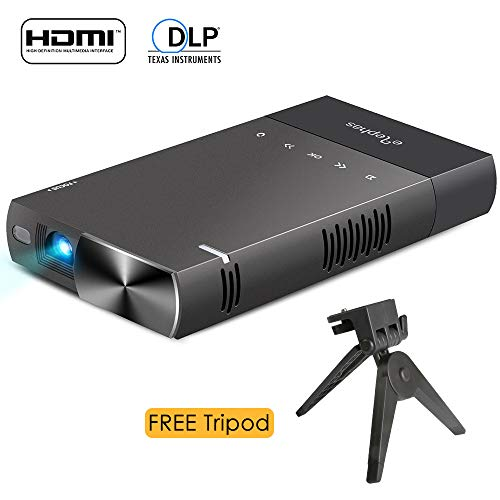 DLP mini projector for iPhone, ELEPHAS 100 Ansi Lumen Pico Video Projector Support 480P HDMI USB TF Micro SD Card.
