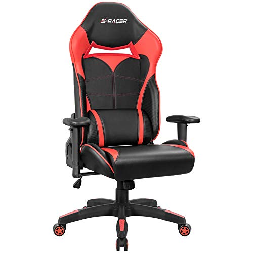Homall Gaming Chair Racing Style High-Back Office Chair Seat Height Adjustable Computer Chair PU Leather Desk Chair Ergonomic Tilt E-Sports Chair with Headrest and Lumbar Support (Red)