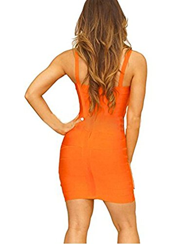 Whoinshop Rayon Dress Bodycon Orange Bandage Women's Sleeveless Strap Cute ztqwt7rP