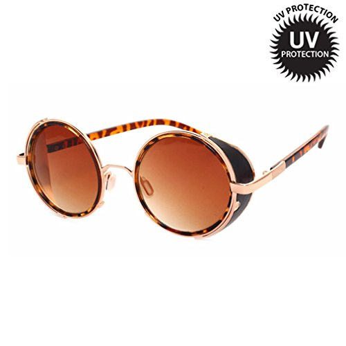 LOMOL Retro Steampunk Rock Metal Frame UV Protection Round Sunglasses For - Sunglasses Replacement Lenses Oakley Australia