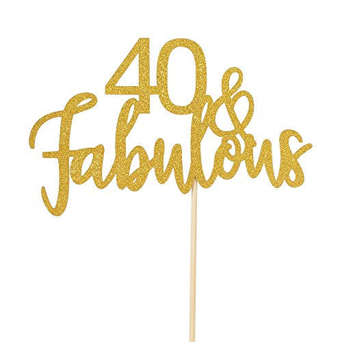 40 & Fabulous Cake Topper -Gold Glitter Hello 40- Happy 40 Birthday Cake Topper 40th Birthday/Wedding Anniversary Party Decoration]()
