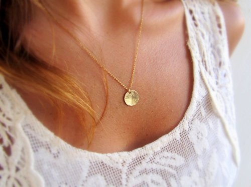 Gold Filled Disc Necklace, Simple Delicate Everyday Minimalist Jewelry, Artisan Handmade (Delicate Gold Necklaces)