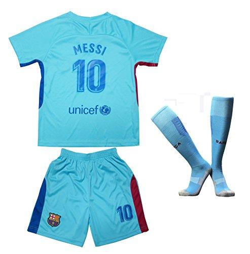 2017/2018 BARCELONA #10 MESSI KIDS AWAY SOCCER FOOTBALL JERSEY & SHORTS SOCKS YOUTH SIZES