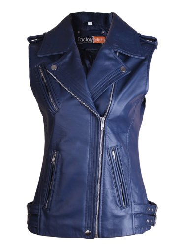 Genuine Ladies Vest Leather - FE Twili Leather Motorcycle Vest Womens in Navy Blue Sleeveless Ladies Biker Vests - Genuine Lambskin