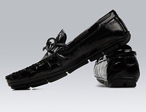 HWF Scarpe Uomo in Pelle Scarpe in pelle da uomo, con piselli, scarpe da lettino, scarpe casual luminose traspiranti (Colore : Nero, dimensioni : EU40/UK6.5) Nero