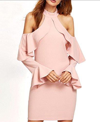 Coolred Shoulder Women Bell Pink Evening Slim Out Cut Dress Falbala Sleeve wxfTxr