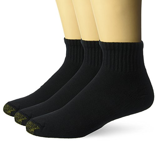 Gold Toe Men's Ultra Tec Performance Quarter Athletic Socks, 3-Pack, Black, Shoe Size: 6-12.5