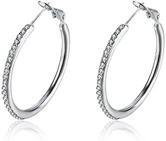 Haoze Fashion Jewelry Gold Plated Base Rhinestone Crystal Hoop Earring Best for Festival Day Gift