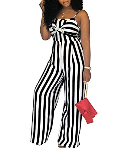 - Women's Spaghetti Strap Striped High Waist Wide Leg Long Pants Palazzo Jumpsuit Rompers (L, Black)