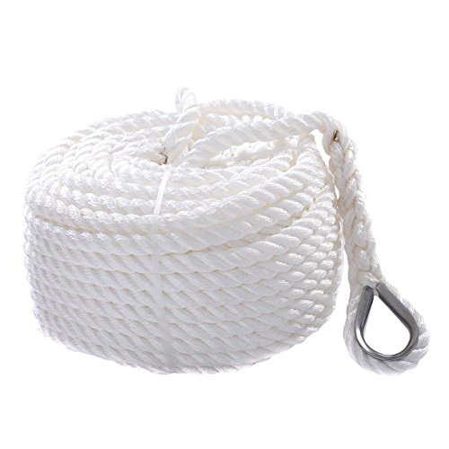 Giantex 1/2 x 50'/100'/150'/200' Twisted Three Strand 6600lbs Nylon Anchor Rope Boat Sailboat (150') Boat Anchor Rope