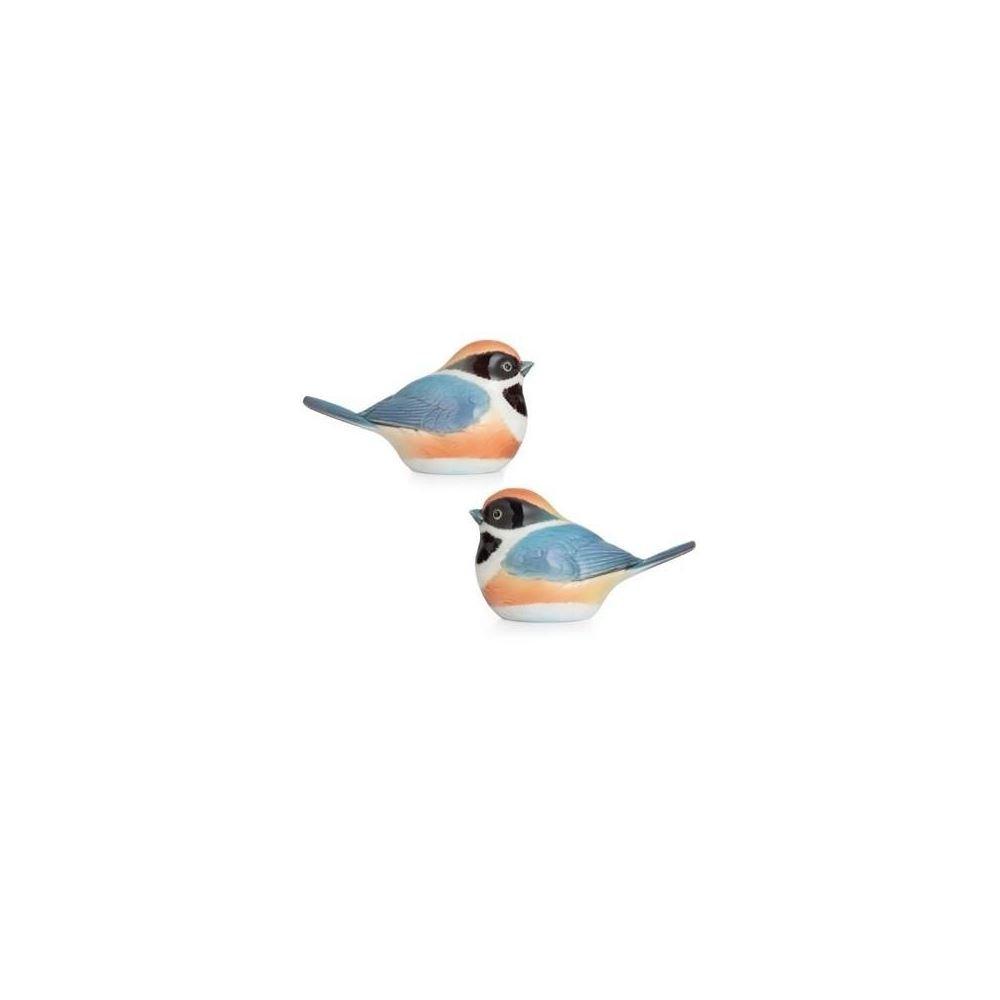 Franz Porcelain Black-throated passerine bird salt & pepper shakers