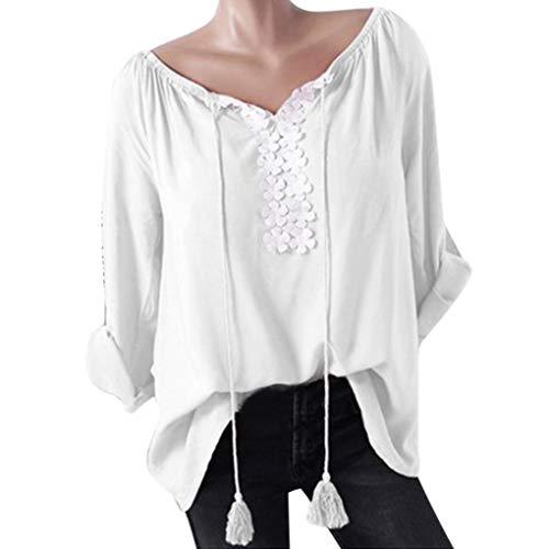 Clearance! Women Plus Size Long Sleeve Tops Daoroka Cotton Floral Lace Shirt