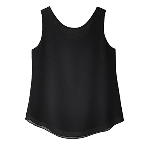 Minuoyi Chiffon Round Neck Double-Layers Loose Cami Shirt Vest Tank Top(XL, Black) (Double Cami Layer)
