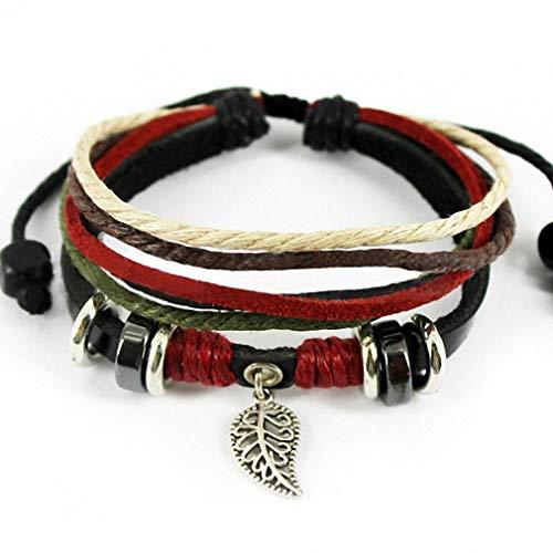 Vintage Jewelry Estate Retro (Womens Womens Vintage Retro Black Leather Bracelet Tree Leaf Braided Charm Bracelets for Women Jewelry T522)