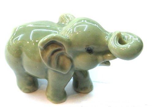 Dollhouse Miniatures Ceramic Green Elephant FIGURINE Animals Decor by ChangThai Design