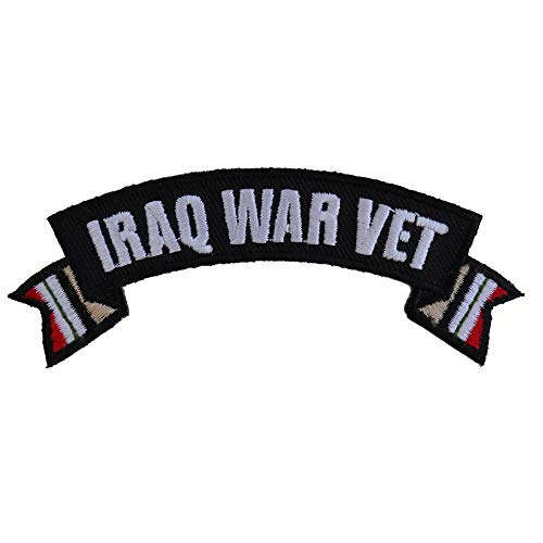Iraq War Vet Ribbon Small Rocker - 4x1.5 inch. Embroidered Iron on Patch