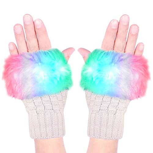 Luwint LED Glow Blink Fur Fingerless Knit Gloves - Funny Light Up Mitten for Party Christmas Halloween Costume