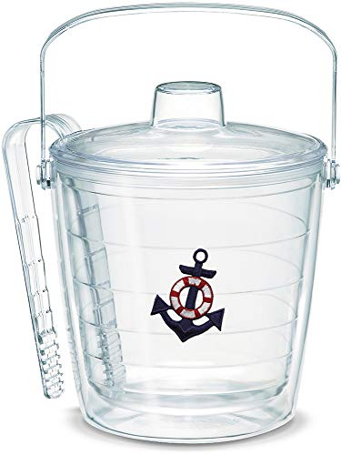 Tervis 1053051 Anchor-Blue Insulated Tongs with Emblem Lid-Boxed, 87oz Ice Bucket, Clear (Ice Bucket Tervis)