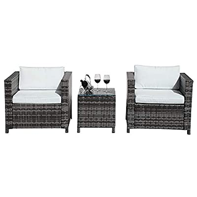 Patiorama 3 Pieces Patio Set Outdoor Wicker Patio Furniture Sets Modern Bistro Set Rattan Chair Conversation Sets with Coffee Table (Grey)