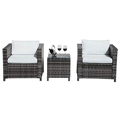 Patiorama 3 Piece Patio Furniture Sets, Outdoor PE Wicker Rattan Furniture Set with Cream White Cushions, Steel Frame,Gray