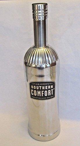 Southern Comfort Whiskey Liqueur M.W. Heron Black Logo 3 Piece Stainless Steel Bottle Shape Cocktail Shaker