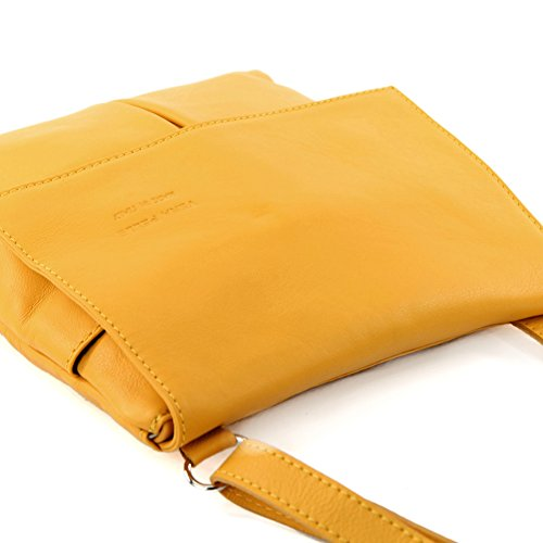 leather Sun real satchel bag messenger Italian Yellow T63 women's shoulder bag bag Bvn7w8q