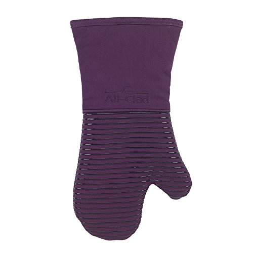 luxe Heat and Stain Resistant Oven Mitt. Made of Silicone Treated Heavyweight 100-Percent Cotton Twill, Machine Washable, 14 x 6.5 Inches, Plum Purple ()