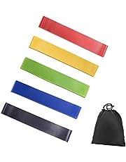 حزام مقاومة لتمارين القوة واللياقة البدنية وصالة الالعاب الرياضية، بنية رائعة من مطاط اللاتكس، 5 مستويات شد مختلفة
