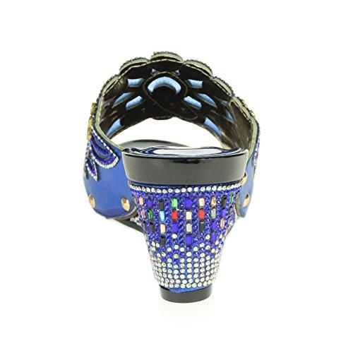 AARZ LONDON Frau Damen Kristall Diamant Abend Hochzeit Party Braut Abschlussball Dekoriert Keilabsatz Schlüpfen Sandalen Schuhe Größe Königsblau