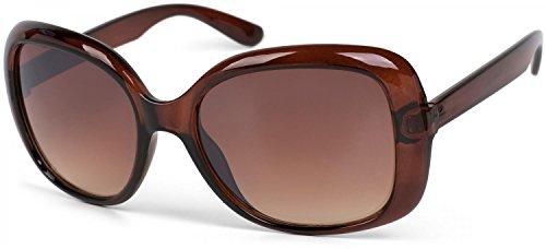 styleBREAKER Sonnenbrille in Schmetterling Form mit schmalen und langen Bügeln, Damen 09020061, Farbe:Gestell Braun / Glas Braun Verlaufsglas