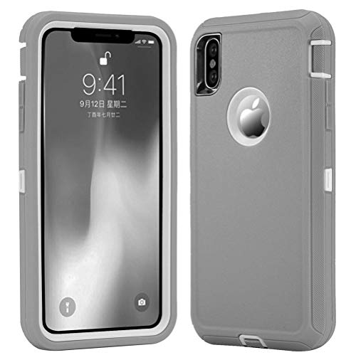 [Support Wireless Charging] [Dust-Proof] [Shockproof] with Screen Protector Cover Compatible for Apple iPhone Xs Max [6.5 inch] (Grey) ()