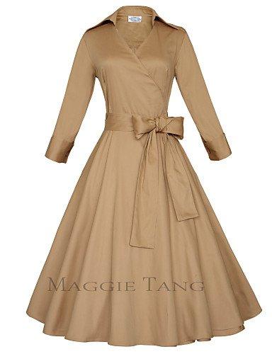 PU&PU Robe Aux femmes Grandes Tailles Grandes Tailles / Vintage / Soirée / Travail / Décontracté , Couleur Pleine V Profond Midi Coton , black-s , black-s