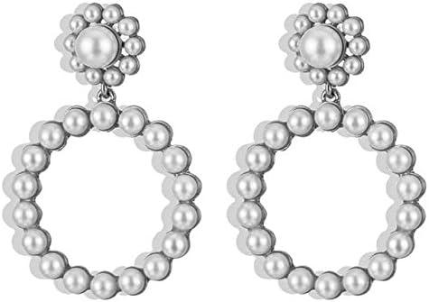 Tendencia Cristal Perla Colgante redondo Pendientes colgantes Declaración de moda Joyas Fiesta Día de San Valentín Presente