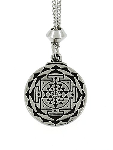 Handmade Shree Yantra Meditation Mandala Pewter Chain Pendant ~ Wealth, Prosperity (with 22 inch Chain)
