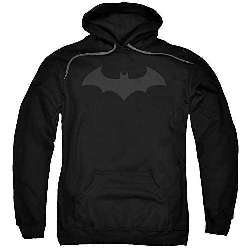 Batman DC Comics Hush Bat Logo Grey on Black Adult Pull-Over Hoodie ()