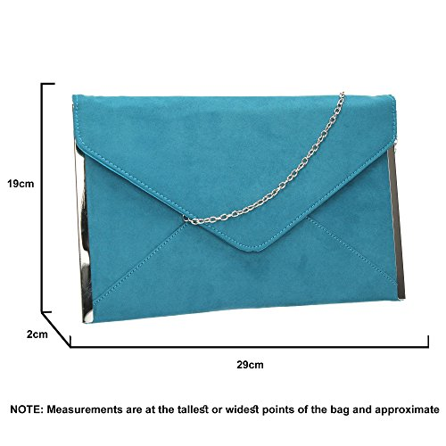 Suede Envelope Louis Prom Slim Party Teal Womens Bag Clutch SwankySwans Clutch 1O4xE