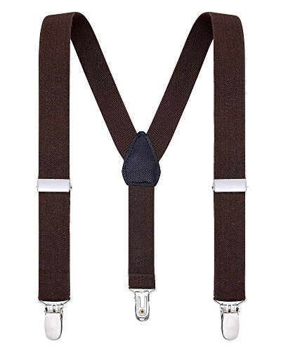 Buyless Fashion Suspenders for Kids and Baby Adjustable Elastic Solid Color 1 inch - 5102-Brown-22]()