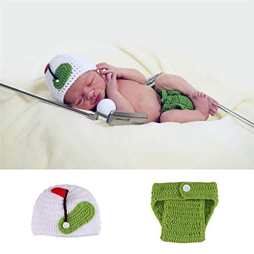 Newborn Baby Crochet Knitted Photo Photography Props Handmade Baby Hat Diaper Costume Outfit Hundred Days Photo Costume - 2019 New Golf Athlete Suit, Hand-Made Neonatal Photo Costume -