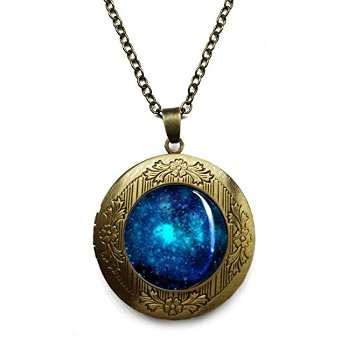 (Vintage Bronze Tone Locket Picture Pendant Necklace Galaxy Tarantula Nebula Space Included Free Brass Chain Gifts Personalized)